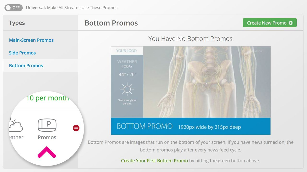 The promos page allows you to add promos the main area, the side area, or the bottom area of your VMcast display.