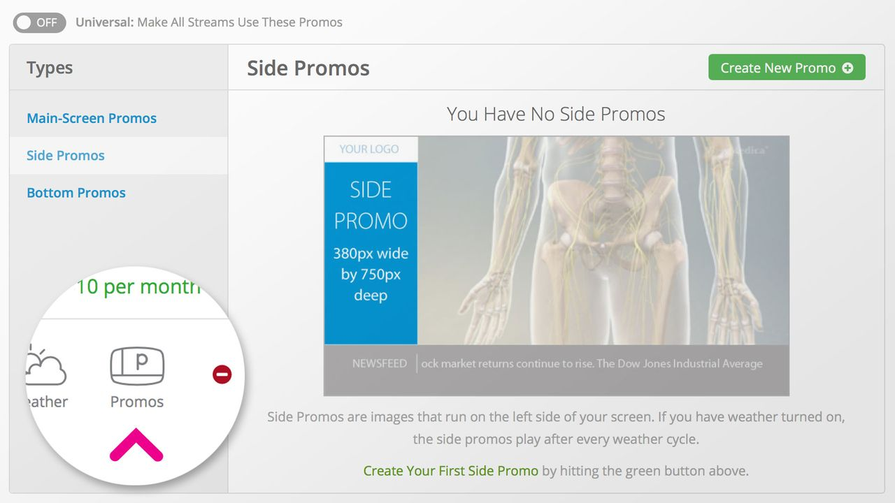 The promos screen helps you manage which promos appear on your VMcast.