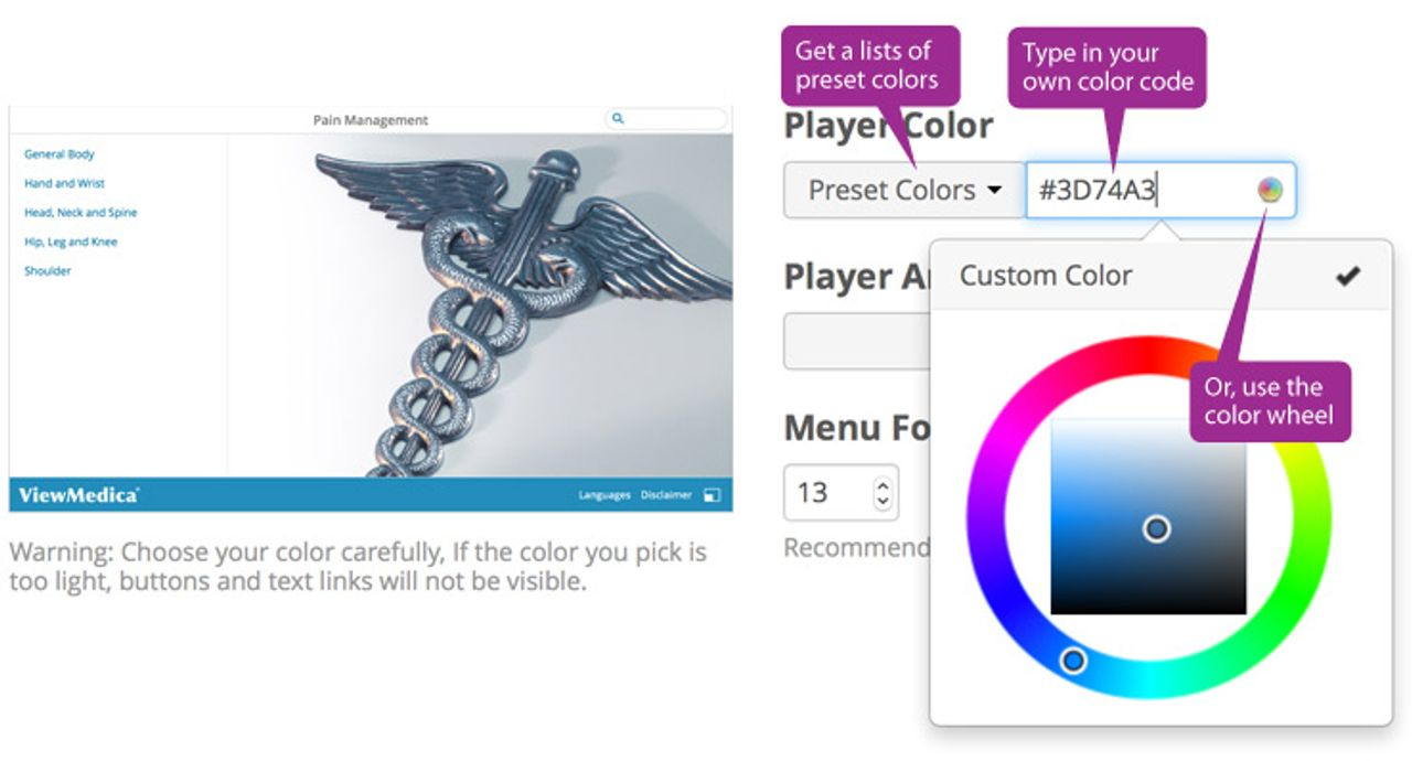 You can change the color of the ViewMedica player from the appearance interface.