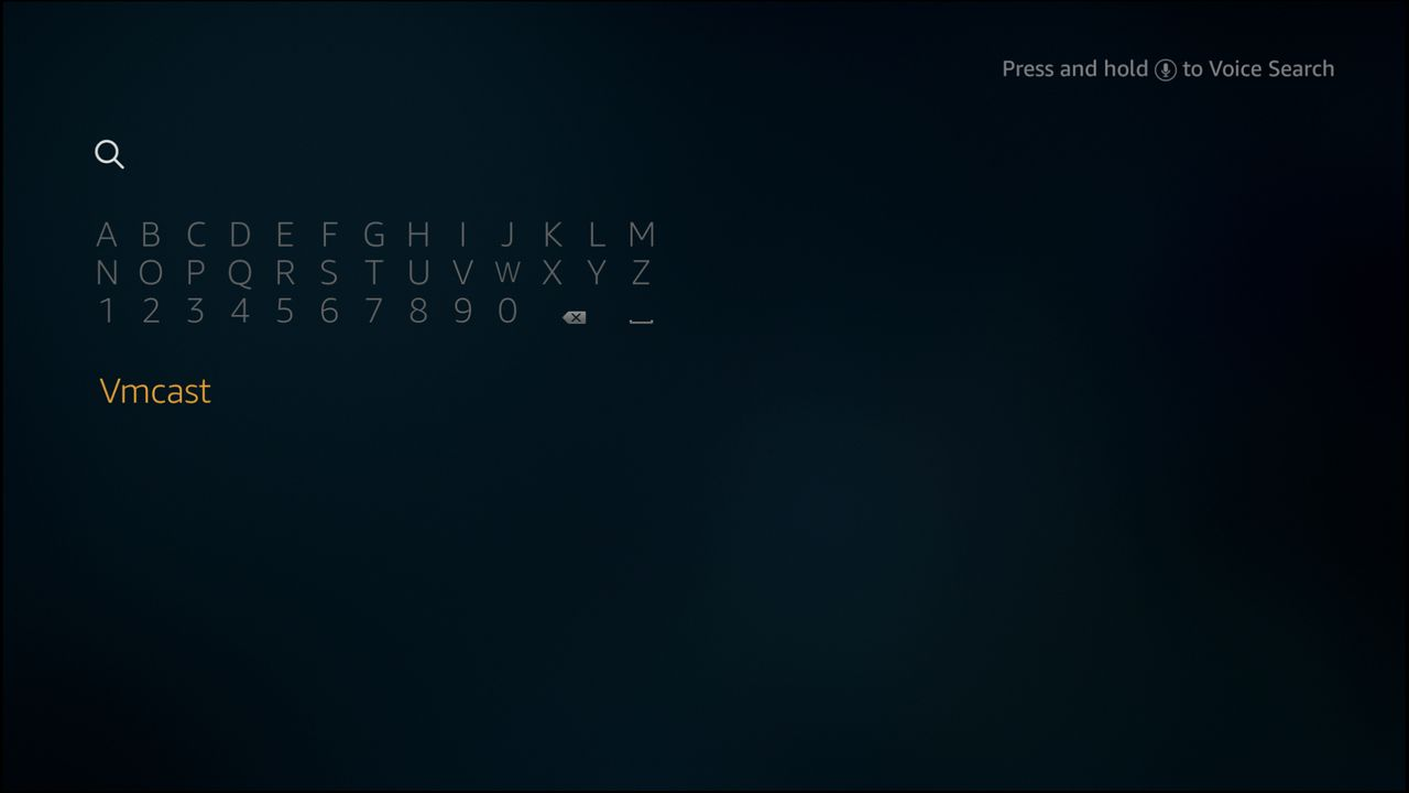 The Amazon Fire TV search screen includes a software keyboard in the top left hand corner.