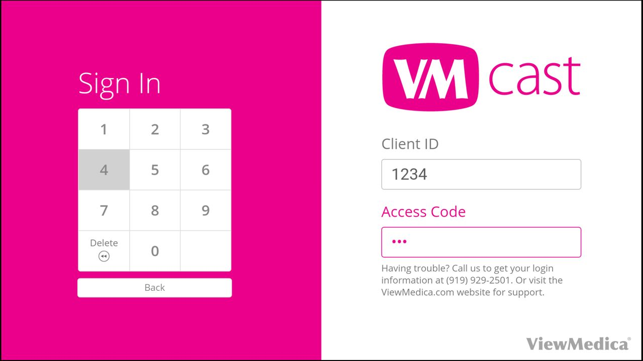 The VMcast login page includes a software keypad to type in the Client ID and Stream Code.