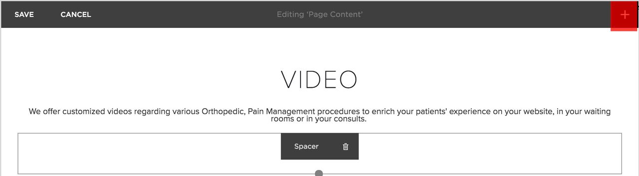 In the Squarespace editor, the plus button was highlighted.