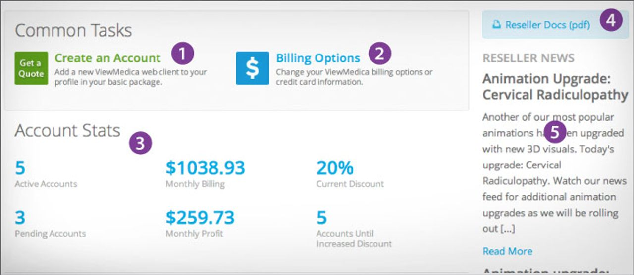 You can create new accounts, set billing options, view accounts stats, and more from your reseller dashboard.