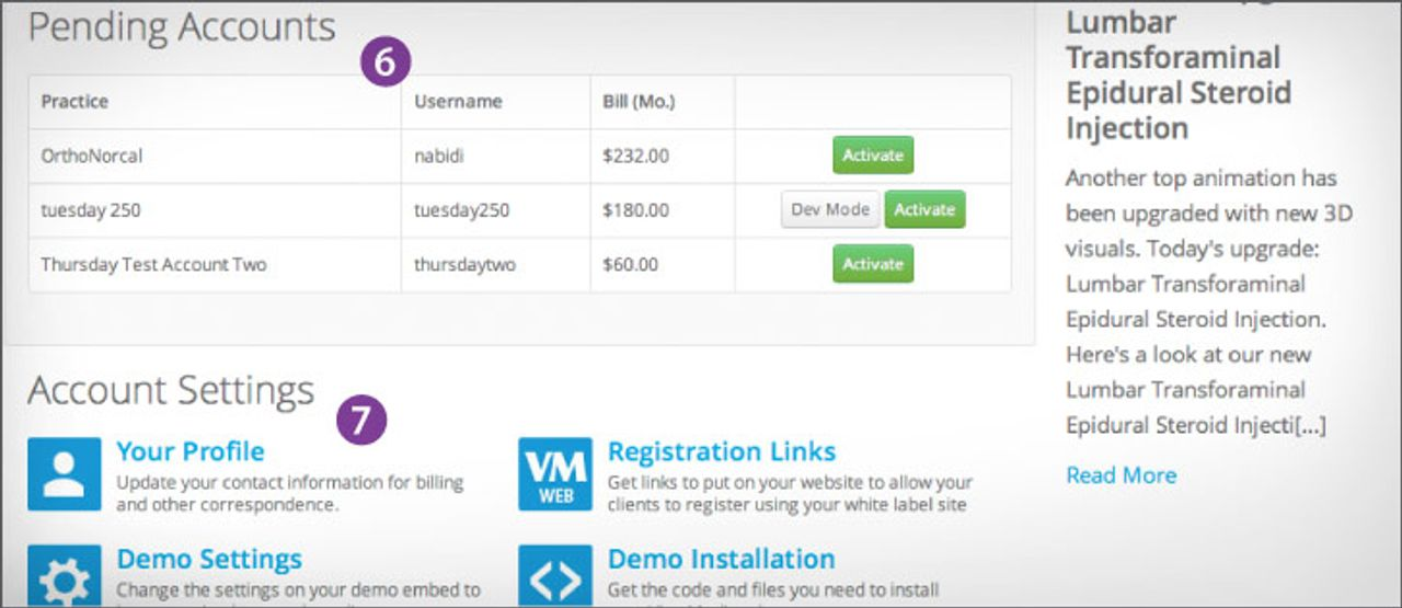 The reseller dashboard allos you to view pending accounts and change profile settings.