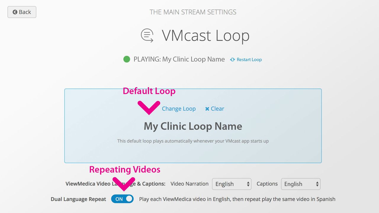 The dual language repeat setting is located in the loop panel of a stream.