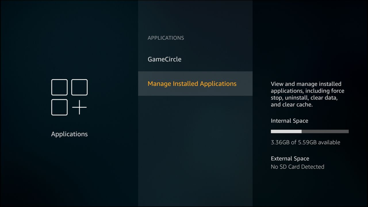 The manage installed applications option is selected.