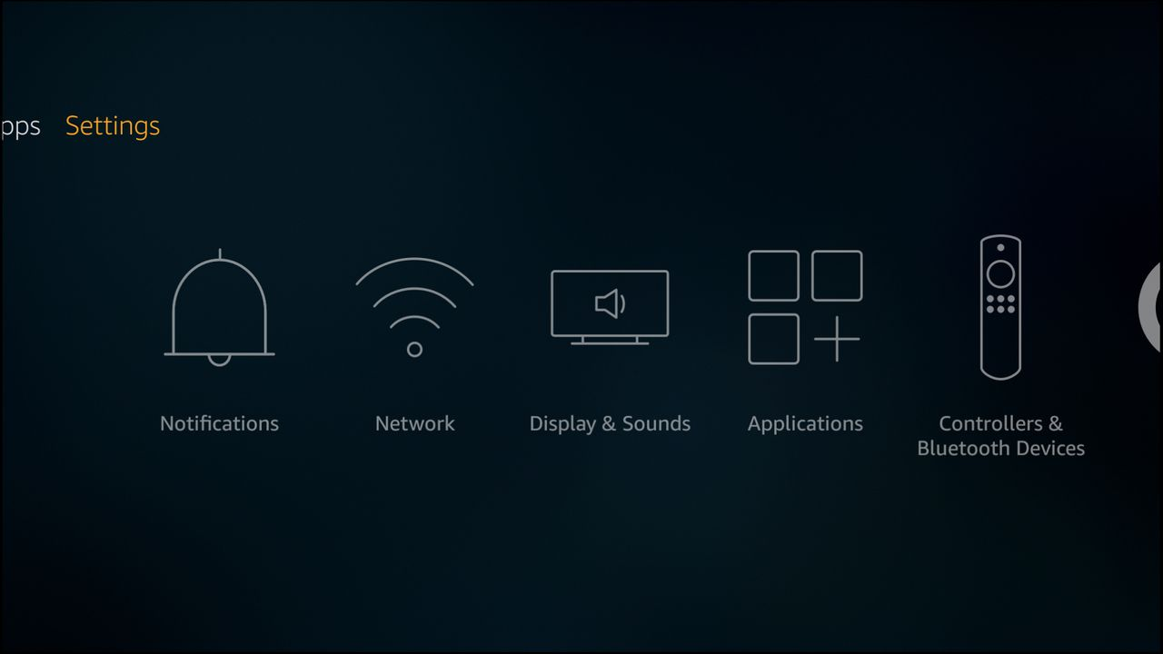 The settings panel of the Amazon Fire TV.